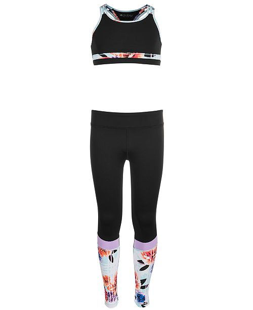 Ideology Big Girls Printed-Trim Sports Bra & Colorblocked Leggings, Created for Macy's