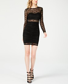 GUESS Sheba Ruched Illusion Lace Dress