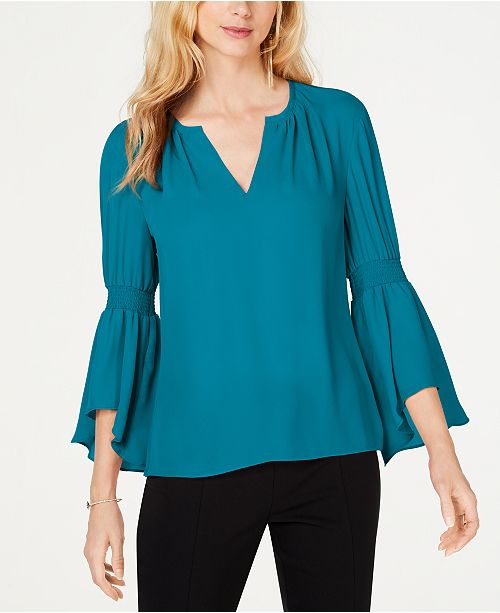 INC International Concepts I.N.C. Petite Smocked Bell-Sleeve Top, Created for Macy's
