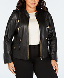 Calvin Klein Plus Size Faux-Leather Embossed Jacket