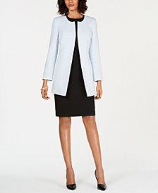 Kasper Collarless Topper Jacket & Crewneck Sheath Dress