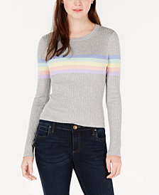 Hooked Up by IOT Juniors' Rainbow Striped Sweater
