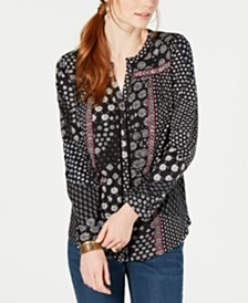 Style & Co Mixed-Print Button-Up Top, Created for Macy's