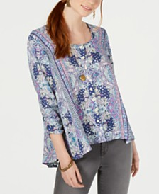 Style & Co Petite Printed Swing Blouse, Created for Macy's
