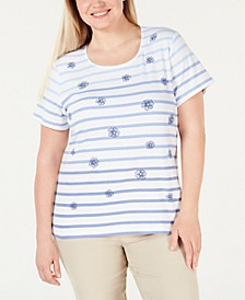 Plus Size Printed Scoop-Neck T-Shirt, Created for Macy's