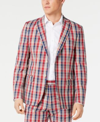 Men's Ultra Flex Classic-Fit Plaid Madras Sport Coat