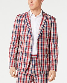 Men's Ultra Flex Classic-Fit Plaid Madras Sport Coat