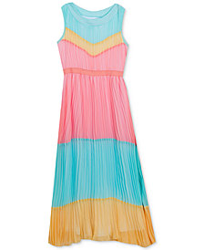 Rare Editions Big Girls Pleated Colorblocked Maxi Dress