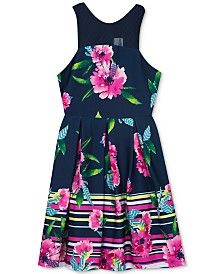 Rare Editions Big Girls Plus-Size Striped Floral-Print Dress, Created for Macy's