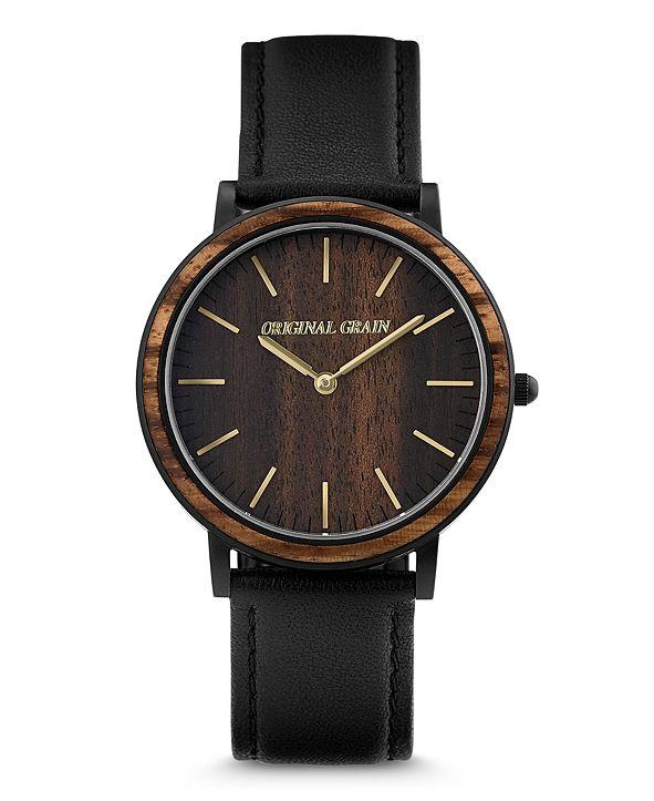 Original Grain Unisex Minimalist Ebony Wood Barrel Paired With Italian Leather 40mm Watch