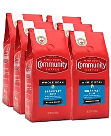 Breakfast Blend Medium Roast Premium Whole Bean Coffee, 12 Oz - 6 Pack