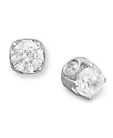 Diamond Spiral Bezel Stud Earrings in 14k White Gold (2 ct. t.w.)
