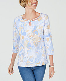 Alfred Dunner Petite Turtle Cove Cutout-Neck Top