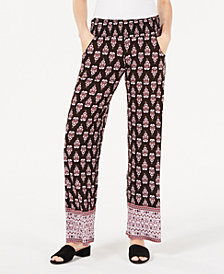 Material Girl Juniors' Printed Smocked Soft Pants, Created for Macy's