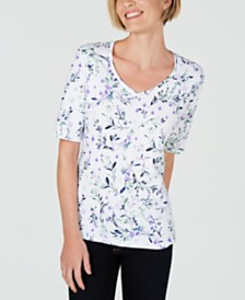 Karen Scott Petite Floral-Print V-Neck Top, Created for Macy's