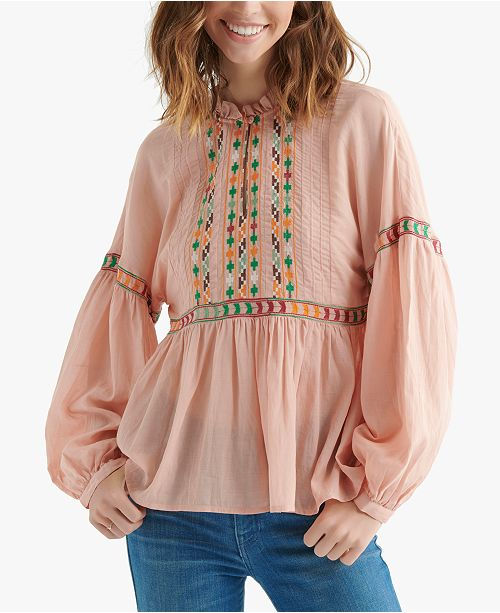d33068ec7d0a58 Lucky Brand Embroidered Peasant Top; Lucky Brand Embroidered Peasant Top ...