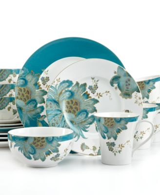 222 Fifth Eliza Teal 16-Pc. Set Service for 4  sc 1 st  Macy\u0027s & 222 Fifth Eliza Teal 16-Pc. Set Service for 4 - Dinnerware - Dining ...