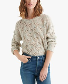 Lucky Brand Marled Pointelle-Knit Sweater