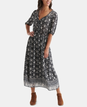 Lucky Brand Dresses PRINTED PEASANT DRESS