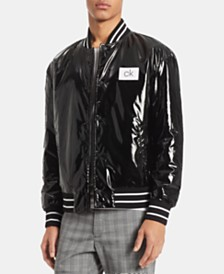 Calvin Klein Men's Vinyl Finish Baseball Jacket