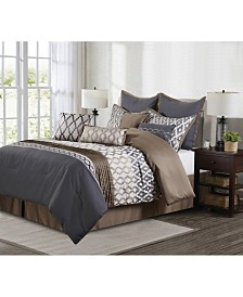 Caval 10-Piece Comforter Set, Taupe/Gray, Queen
