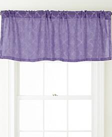 Jess Rod Pocket Embroidered Curtain Valance, White , 54 x 18""