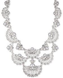 "Marchesa Silver-Tone Crystal & Imitation Pearl Statement Necklace, 16"" + 2"" extender"