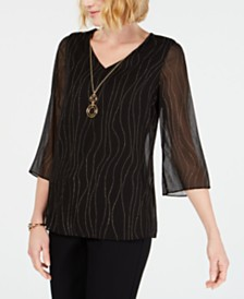 f8e1f0e5b141f JM Collection Petite Sheer-Overlay Removable-Necklace Top