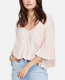 Free People V-Neck 3/4-Sleeve Peasant Top