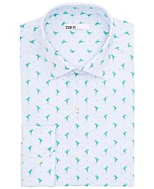 Bar III Men's Classic/Regular-Fit Performance Stretch Frog Stripe Dress Shirt, Created for Macy's
