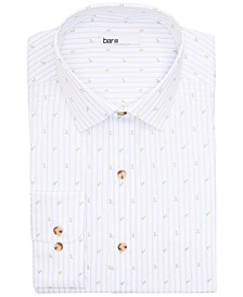Men's Slim-Fit Performance Stretch Tossed Tulip Stripe Dress Shirt, Created for Macy's