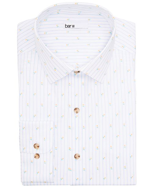 Bar III Men's Classic/Regular-Fit Performance Stretch Tossed Tulip Stripe Dress Shirt, Created for Macy's