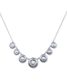 "Lucky Brand Silver-Tone Imitation Pearl Disc Collar Necklace, 17"" + 2"" extender"