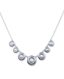 """Lucky Brand Silver-Tone Imitation Pearl Disc Collar Necklace, 17"""" + 2"""" extender"""