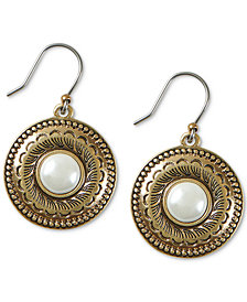 Lucky Brand Gold-Tone Imitation Pearl Etched Disc Drop Earrings