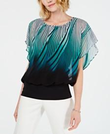 JM Collection Flutter-Sleeve Banded Hem Top, Created for Macy's