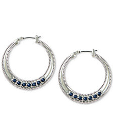 Lucky Brand Silver-Tone Stone Textured Rope Hoop Earrings
