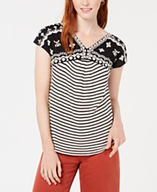 Lucky Brand Embroidered Textured Top