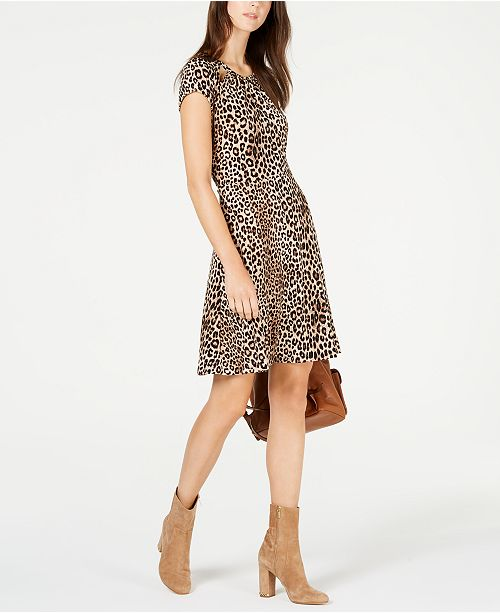 4ff87f30f8e Michael Kors Petite Leopard-Print Cutout Dress   Reviews - Dresses ...