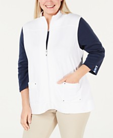 Karen Scott Plus Size Zip-Front Vest, Created for Macy's
