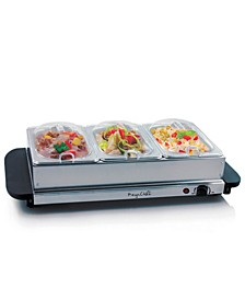 Buffet Server, Food Warmer with 3 Removable Sectional Trays, Heated Warming Tray and Removable Tray Frame
