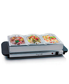 MegaChef Buffet Server Food Warmer With 3 Removable Sectional Trays , Heated Warming Tray and Removable Tray Frame