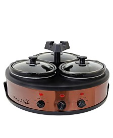 MegaChef Round Triple 1.5 Quart Slow Cooker and Buffet Server in Brushed Copper and Black Finish with 3 Ceramic Cooking Pots and Removable Lid Rests