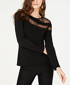 I.N.C. Long-Sleeve Illusion-Lace Top, Created for Macy's