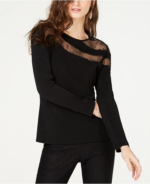 98c94374cad0a INC International Concepts I.N.C. Long-Sleeve Illusion-Lace Top ...