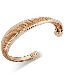 Gold-Tone Crystal & Chain Mesh Cuff Bracelet, Created for Macy's