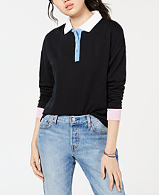 Hippie Rose Juniors' Colorblocked Polo Sweatshirt