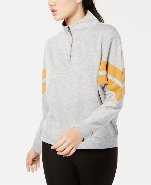Hippie Rose Juniors' Colorblock Striped Half-Zip Sweatshirt