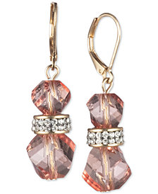 Anne Klein Gold-Tone Pavé & Faceted Bead Drop Earrings, Created for Macy's