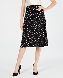 Kasper Dot-Print A-Line Midi Skirt